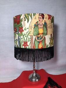 'Frida Kahlo' 30cm Lamp Shade In Cotton Fabric With Black Tassel Trim In Cream