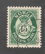 Norway #308 (A10) VF USED - 1950 15o Redrawn Post Horn Type Of 1937