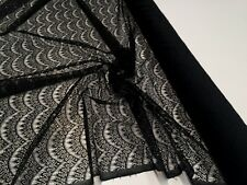 BEAUTIFUL BLACK EYELASH LACE FABRIC : 150CM WIDE : By the 1/2 mtr :