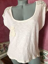 Forever 21 Women's Pocket Tee Hi Low Lace Tunic Top Size M Ivory
