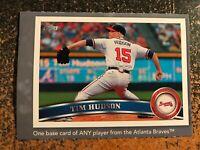 Tim Hudson Braves 2011 Topps Scavenger Hunt HOBBY STORE HAND CUT POSTER CARD