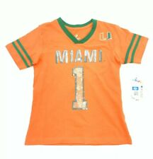 University Of Miami Girls Size 6 - 6X Sequin T-shirt Orange Green Short Sleeves