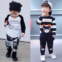 2PC Kid Infant Baby Boy Tops T-shirt+Long Pants Autumn Winter Outfits Clothes AU