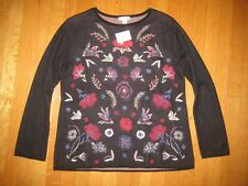 NEW J.JILL Petite embroidered pullover sweater XSP black floral 100% wool NWT
