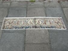 Old Fragment Traditional Hand Made Persian Oriental Wool White Runner 35x173cm