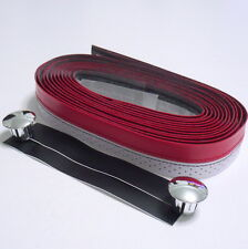 gobike88 Velo Two Tone HandleBar Tape, Synthesized Leather, Red/White, D69