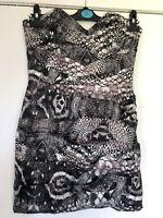Lipsy Grey/Pink Snakeskin Print Strapless Silky Bodycon Party Dress Size 10