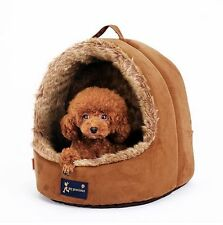 New Warm Brown Luxurious High Quality Pet Dog Cat Tent House Bed Puppy Size S,M