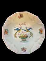 Vintage Antique German Bowl with Peacocks and Flowers