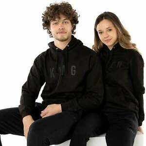 King or Queen Black Embossed Hoodies Valentines Couples Matching Royalty Gifts