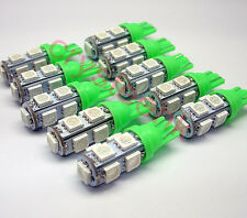 10 x T10 194,168,2825, 9 x 5050 SMD LED Green Super Bright Car Lights Lamp Bulb