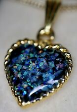 Amazing Coober Pedy Opal Chip Love Heart Pendant Gold Plated Outback Opal Hunter