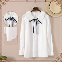 Japanese Sweet Lolita Mori Girl Lace Bow Tie Long Sleeve Shirt preppy Blouse #