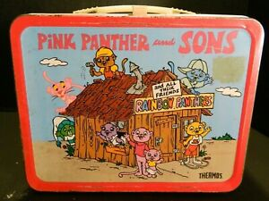 Vintage Pink Panther & Sons Metal Lunch Box No Thermos (1984) Good Condition