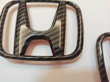 CARBON STYLE FRONT GRILL+REAR BOOT BADGES EMBLEMS HONDA CIVIC MK8 FN1 FN2 TYPE R