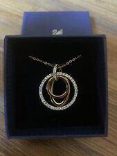 Genuine Swarovski Mambo Necklace W Swan & Tag-Rose Gold/gld Plate/rhodium Plate