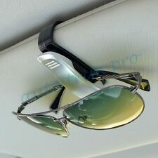 Vehicle Sun Visor Spectacles Clip Sunglasses Card Ticket Holder Silver Color