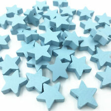 50 Light blue Star shape Wood Bead Spacer Bead Baby Pacifier Clip Jewelry Making