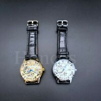 40 MM Movement Open Work Skeleton Automatic Alligator Leather Watch Honcos Black