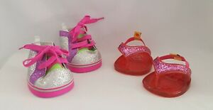 Lot of 2 Build a Bear Shoes Silver Pink Green Glitter High Tops Sequin Sandals