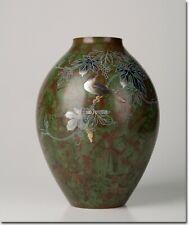12'' bronze brass copper Takaoka carving home decor flower bird jar vase statue