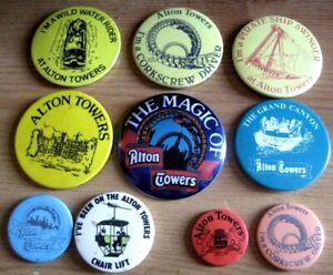 ALTON TOWERS THEME PARK vintage 1970s 1980s souvenir pin BADGE select from list