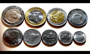 ALGERIA Coins set of 9 pcs.1/4,1/2,1,2,5,10 & Bi-Metallic 20, 50, 100 Dinars UNC