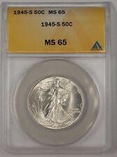 1945-S Walking Liberty Silver Half Dollar Coin ANACS MS-65 (2)