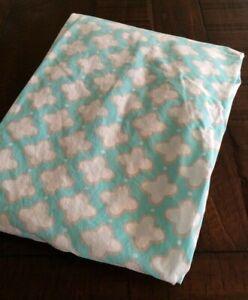 Pottery barn Kids Clover Geo Crib fitted Sheet aqua white 100% Organic Used