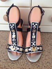 LOVELY MISS SIXTY BLACK/SILVER WEDGE STRAPPY SANDALS UK SIZE 4 WORN GOOD CONDIT