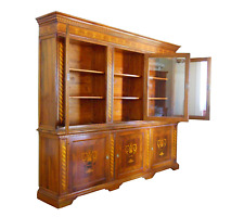 Late 20th Century Marquetry French Country Breakfront Library Bookcase Display