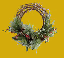 "NEW Pottery Barn Lush Red Berry Pine Evergreen Wreath Christmas Holiday 26"" Deco"