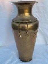 "Large 16"" Floor Vase Hammered Brass Braided Rope Tassels Wide Collar India Vtg"