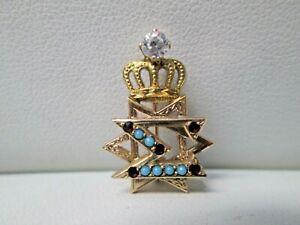 Delta Sigma Turquoise & Garnet 10K Gold Star David Fraternity Pin  #1