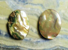 VERY NICE VINTAGE 17 x 12mm to 18 x 13mm OVAL ABALONE CABOCHON 2 PIECE LOT