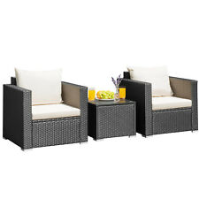 3 PCS Patio Rattan Furniture Set Conversation Wicker Set Cushioned Sofa Outdoor