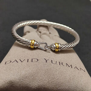 David Yurman Cable Buckle Bracelet With 18k Gold 5mm 925 Sterling Silver (M)