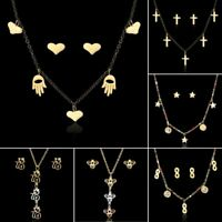 Fashion Women Stainless Steel Crystal Necklace Earrings Wedding Jewelry Set Gift
