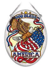 "God Bless America Sun Catcher AMIA Hand Painted Glass 7""x5"" Oval Eagle Flag Star"