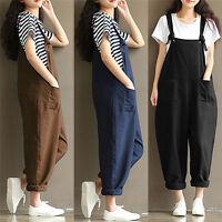 Women Casual Loose Pants Cotton Jumpsuit Strap Harem Trousers Overalls Romper HT