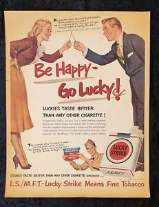 """VINTAGE  LUCKY STRIKE CIGARETTE ADVERTISING POSTER """"Happy Go Lucky"""" early Repro"""