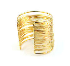Fine Multi Gold Wire Bangle Bracelet Open Ended Cuff UK