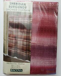 Bacova SHERIDAN BURGUNDY Shower Curtain 70x72 Gold Accents Striped