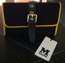NWT M Missoni Wallet Clutch Black Yellow Green Buckle Detail 7.5 X 5 In $300+