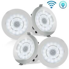 3.5'' Bluetooth Ceiling/Wall Speakers, 4 2-Way Speakers with Built-in LED Light