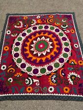Uzbek Multicolor Vintage Hand Embroidery Best Gift Wall Decor Tablecloth Suzani