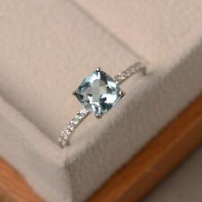 14K Real White Gold 1.55 Ct Cushion Cut Natural Diamond Natural Aquamarine Ring
