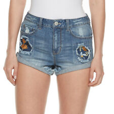 NWT $38 Juniors' Mudd Ripped Embroidered Patch Shortie Denim Shorts Sizes 7 9