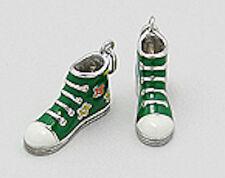 Solid Sterling Silver Green Enamel Sneaker w/ Flowers Charm Pendant Gorgeous!