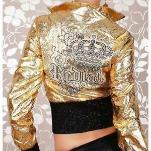 Sexy Redial Glanz Biker-Jacke Clubwear Gold/Schwarz #J309